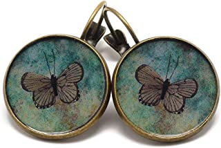Orecchini retro resina Farfalle verde bronzo 2cm regali personalizzati natale compleanno ospiti matrimonio amico festa del...