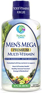Men's Mega Premium Liquid Multivitamin w/CoQ10, Paba + 100 Additional Vitamins, Minerals, Amino Acids to Support Muscle, H...