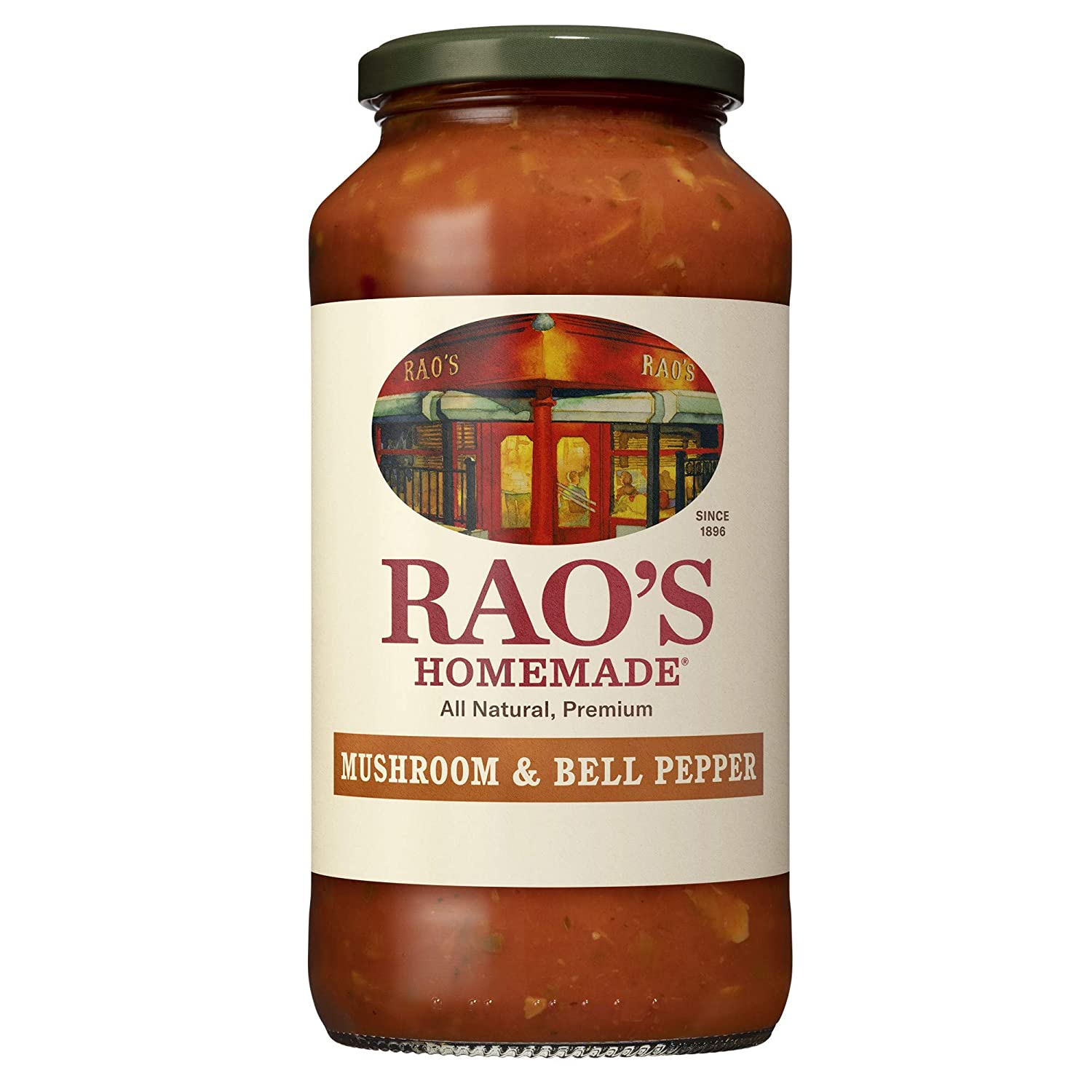 Rao's Homemade Tomato Sauce   Mushroom & Bell Pepper   24 oz   Vegan Pasta Sauce   Carb Conscious, Keto Friendly   All Natural, Premium Quality   With Italian Tomatoes, Mushrooms, Peppers & Onions