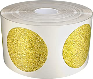 Royal Green Kids Gold Glitter Circle Craft Stickers 25mm Diameter on core Roll - Envelope Seals - 1 inch (2.5cm) Sparkle Adhesive- 425 Pack by Royal Green