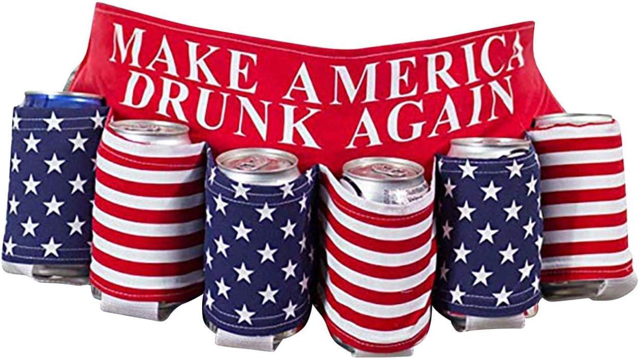Novelty Americana Themed Beverage Holder Beer Belt,Independence Day Themed Drink Holder Beer Belt,Drink Rack Beer Belt Creative Picnic Party Belt (D)