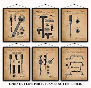 Carpenter's Tools Patent Prints Set of 6 Invention Patent Prints - Gifts for People who Love to Build - Wall Art Decor Great for Den, Man Cave, Work Shop, Class Room