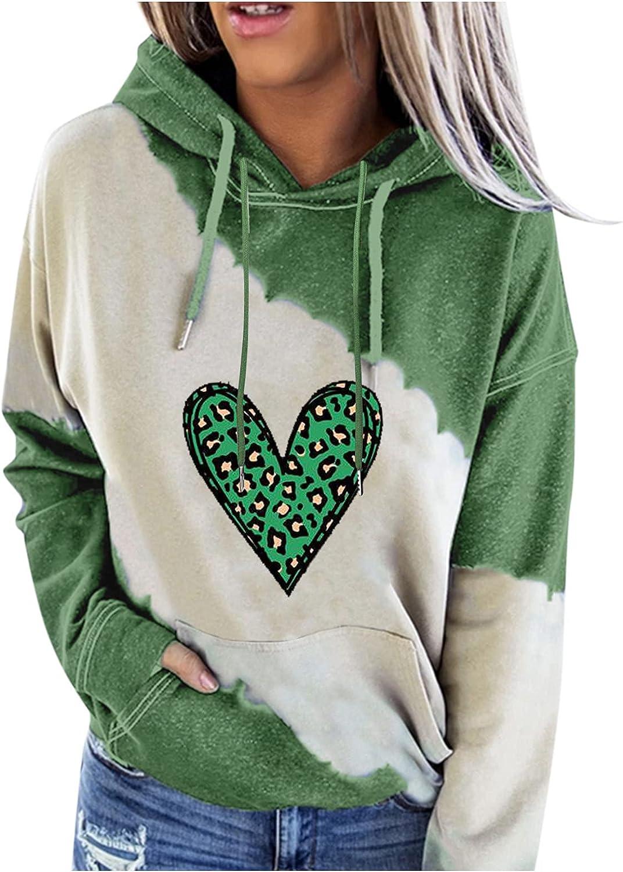 Afelkas Hoodies for Women Patchwork Casual Loose Sweatshirt Cute Cow Cartoon Print Blouse Drawstring Pocket Pullover
