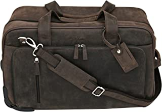 S Babila - Bolsa de viaje con ruedas - Ideal para equipaje de mano - Cuero de flor - Barro
