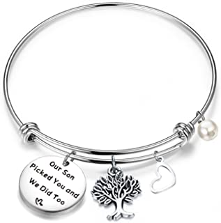 FEELMEM Daughter in Law Gift Our Son Picked You and We Did Too Adjustable Wire Bangle Bracelet