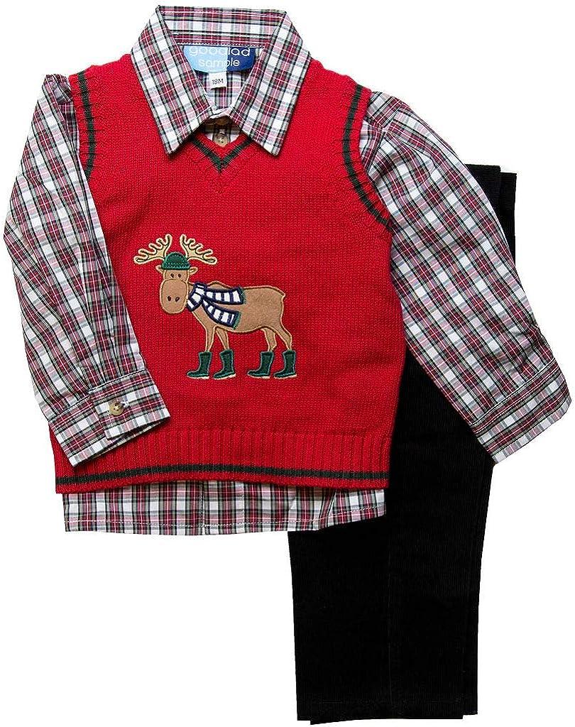 Good Lad Toddler Thru 4 7 Moose Red Veste Sweater 在庫あり 商品 Appliqued Boys