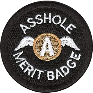 Tactical Morale Patch Asshole Embroidered Military Merit Badge Hook and Loop Fastener Backing Emblem (ASSHOLE-black+white)