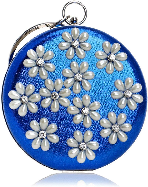 04a32092f1645 Eeayyygch Umh auml ngetasche Dinner-Handtasche Dinner-Handtasche Dinner- Handtasche Elegante Dame Pearl Flower Abendtasche (Farbe Blau