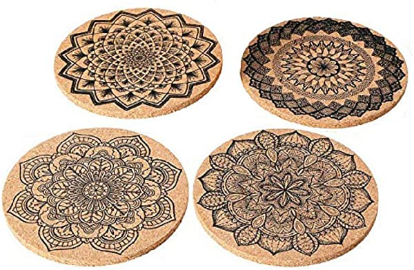12 Pcs Cork Coasters Drinks Absorbent Cup Mat Mandala Retro Look Home Decor For Home Restaurant Office And Bar Protects Tabletop Furniture From Stains Or Scratches 4 Inches