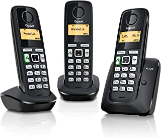 Gigaset A220 Trio Cordless Phone with 200 Hrs Standby, 50M Indoor-300M Outdoor Range, Internal-External Call Transfer, Spe...