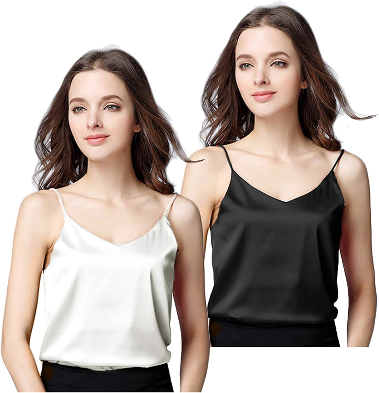 Miqieer 2 Pack Women's Silk Tank Top Ladies Camisole Silky Loose Sleeveless Blouse Tank Shirt with Soft Satin