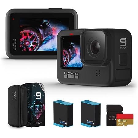 【国内正規品】GoPro HERO9 Black アクションカメラ ゴープロ 水中カメラ 人気アクションカム (HERO9Black本体+認定SDカード(64GB) + 1720mAhバッテリー2個)