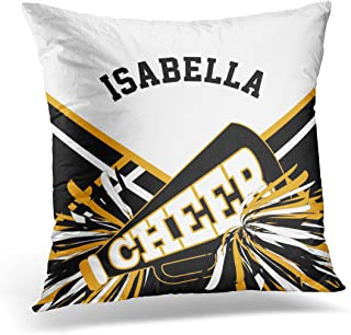 VANMI Throw Pillow Cover Cheerleading Cheerleader in Gold White and Black Squad Decorative Pillow Case Home Decor Square 16x16 Inches Pillowcase