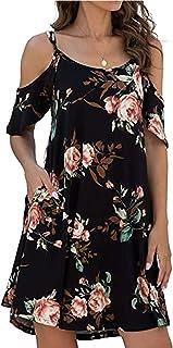 Women's Summer Casual Spaghetti Strap Dress Ruffle Sleeves Floral Print Dresses