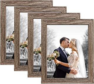NUOLAN 8x10 Picture Frame, Rustic Gray Wood Pattern Art Photo Frames for Wall or Tabletop Display, Pack of 4 (NL-PF8X10-RG)