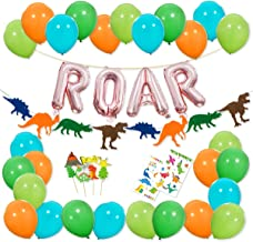 Dinosaur Party Decorations - Rose Gold ROAR Banner Mylar Balloons, Colorful Felt Garland, Dinosaur Cake Topper and Latex Balloons with Tattoo for Dino Jungle Jurassic Dinosaur Birthday Party Supplies