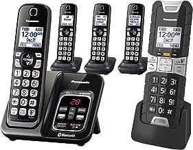 تلفن بی سیم Panasonic Rugged Link2Cell بلوتوث با کمک صوتی ، بلوک تماس با یک تماس و پاسخگویی به تلفن - 4 گوشی استاندارد + 1 گوشی ناهموار - KX-TGD585M2 (سیاه)