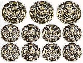 Antique Gold Crowned Eagle 11 piece set metal blazer buttons