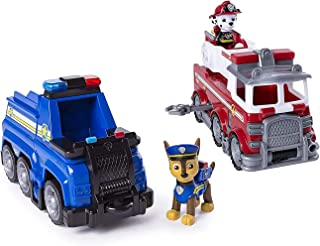Paw Patrol Ultimate Rescue Set- Marshall's Ultimate Rescue Fire Truck with Moving Ladder and Flip-Open Front Cab, &Chase's...