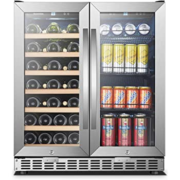 Amazon Com Kalamera Wine And Beverage Refrigerator 30 Inch With Glass Front Door Beer Wine Soda And Drink Mini Fridge Stainless Bar Drinks Fridge With Built In Dual Zone