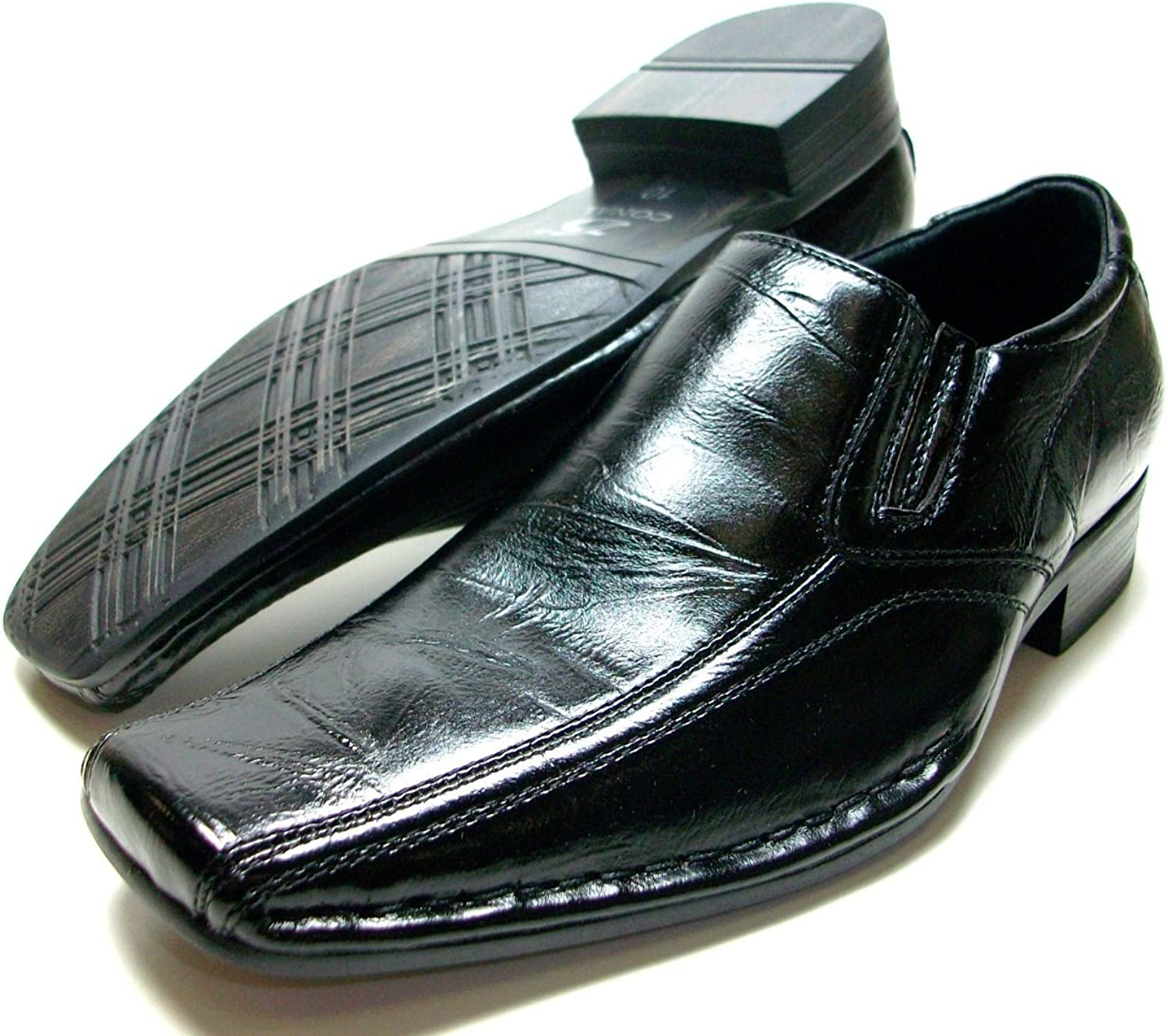 Conal By D Aldo Kids Boys Black Slip On Plain Classic Dress Shoes Styled in Italy