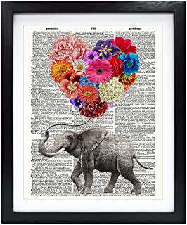 Susie Arts 8X10 Unframed Elephant with a heart shaped balloon of Flowers Upcycled Vintage Dictionary Art Print Book Art Print Home Decor Wall Art Kids Gift V128