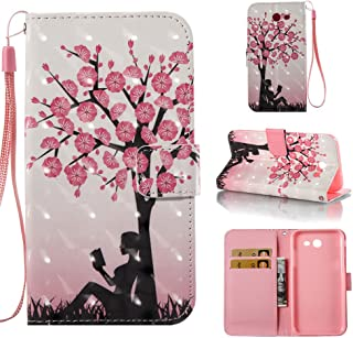 Galaxy J7 V Case for Women/Samsung J7 Perx/J7 Sky Pro/J7 Prime/J7 2017/Galaxy Halo Wallet Case, Voanice PU Leather Flip Protective Case Cover with Card Slots Holder Kick Stand &Stylus-Girls Pink Tree