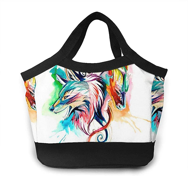 QF6FEICHAN Colorful Dragon And Wolf Backpack Tote Handbag Lunchbox Food Container Cooler Warm Pouch For School Work Office
