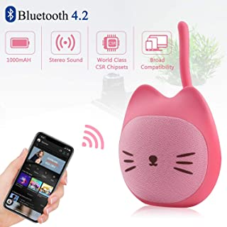 Kitten Bluetooth Portable Speaker 5W Output Bass Stereo Personalized Cute Artistic Wireless Speaker for Home Party Cafe Bar Compatible for Desktop PC/Laptop/Mobile Phone (Rose)