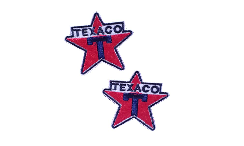 2 pieces TEXACO Iron On Patch Fabric Grand Prix Motif Applique Race Sports Petrol Gas Oil Decal 2.3 x 2.2 inches (5.8 x 5.5 cm)