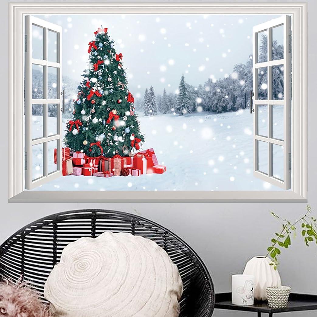 ポーク怪しいカプセルTakarafune ウォールステッカー クリスマス 偽窓 3Dウォールステッカー 立体デザイン 壁紙 シール サンダ クリスマスツリー