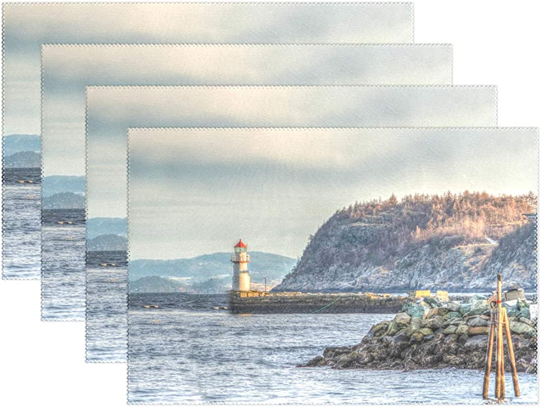 LEISISA Set Of 6 Placemats Towering Lighthouse Heat Resistant Stain Placemats For Dining Table