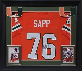 Miami Warren Sapp Authentic Signed Orange Framed Jersey Autographed JSA Witness
