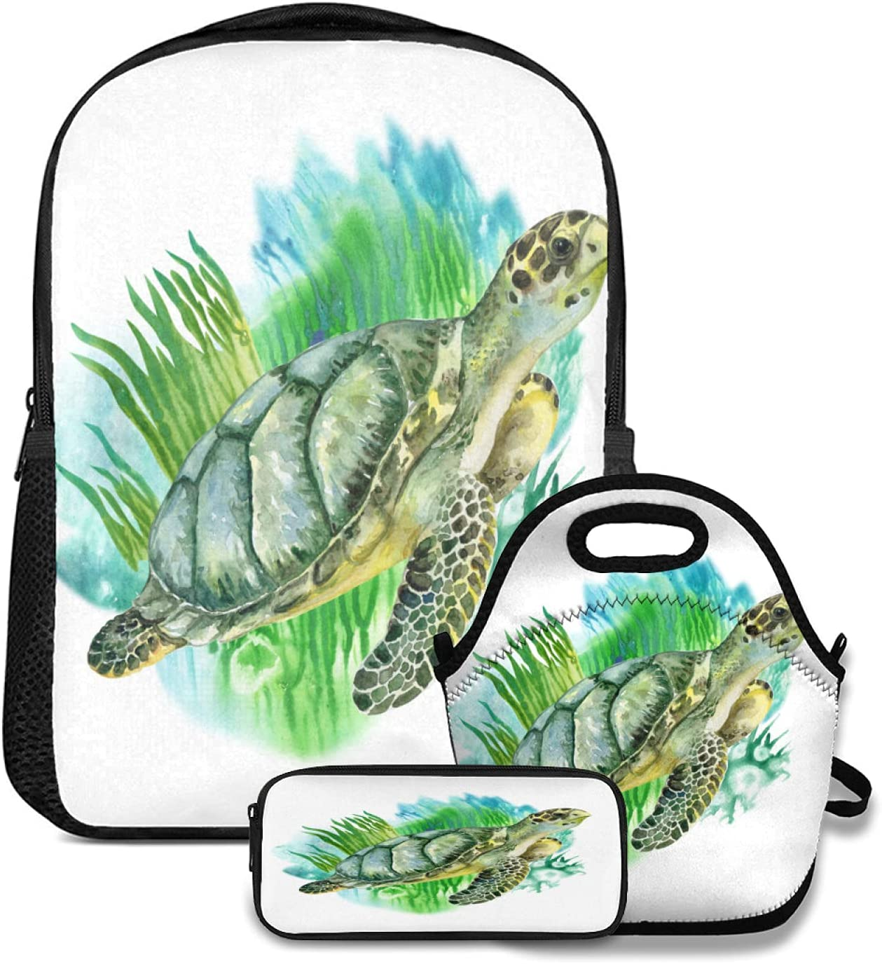 OcuteO Watercolor Sea Green Spring Max 83% OFF new work Turtle With Marine On Seaweed White