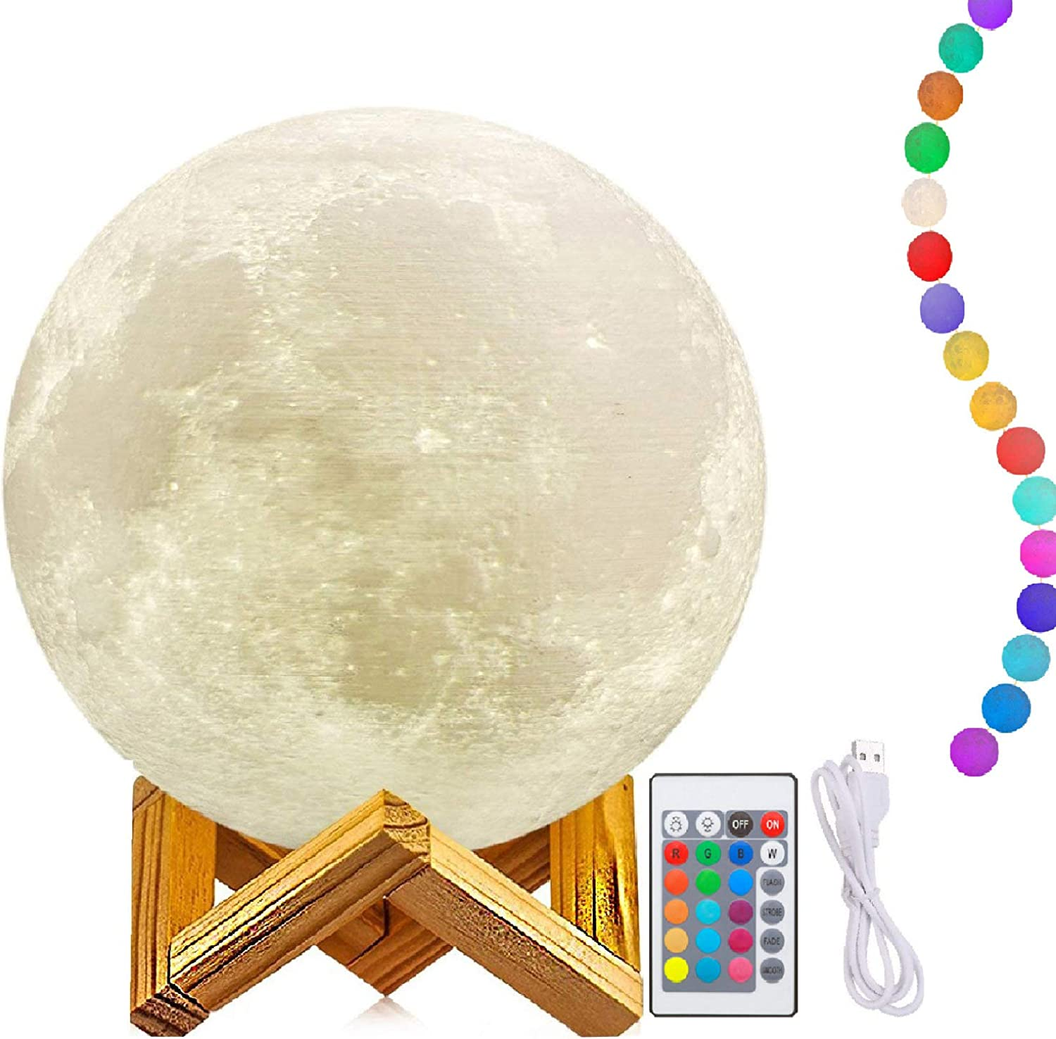 11 Inch Moon Lamp with Stand, 3D Printing Moon Light, The Moon Night Light with LED 16 colors, Touch Control and Remote Control (Diameter28CM)