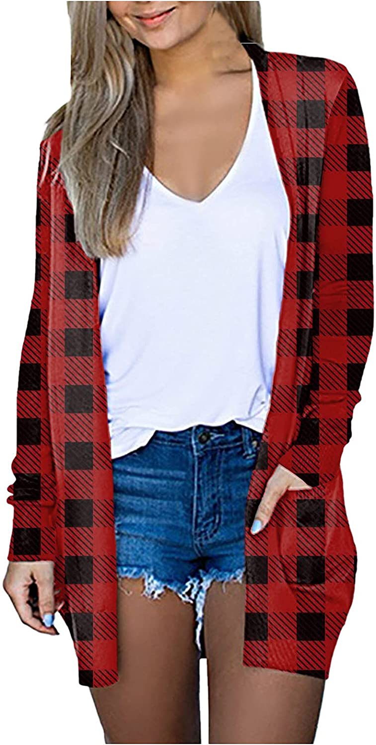 ManxiVoo Women's Long Sleeve Open Front Plaid Cardigan Coats Plus Size Fall Tops Jackets with Pockets