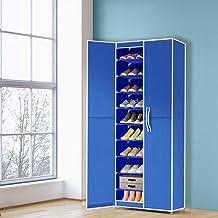 Levede 10 Tiers Shoe Rack Portable Storage Cabinet Organiser Wardrobe Blue Cover