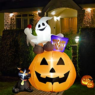 SUPERJARE 6 Ft Inflatable Lantern-Ghost-Cat, Airblown Halloween Decoration with LED Light, Tall, Indoor & Outdoor, Yard & Lawn Decor