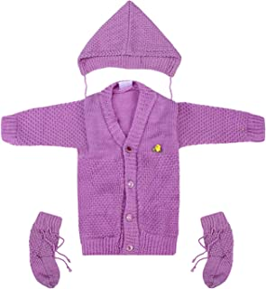 Superminis Baby Girl and Baby Boy Woollen Sweater with Cap and Booties for 0-6 Months