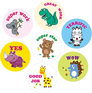Leeofty Cute Animal Reward Sticker Incentive Sticker Positive Words Sticker Paper Roll Diameter 38mm for Kid Teacher Schoo...