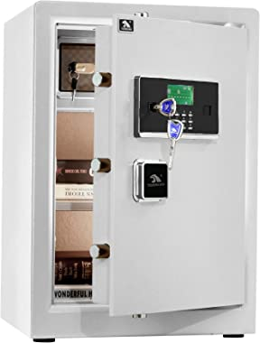 TIGERKING Digital Security Safe Box, Double Safety Key Lock Box Safe for Home Office - 3.7 Cubic White