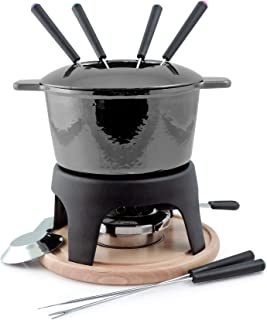 Swissmar Sierra Iron Fondue 11 Piece Set in Metallic Black