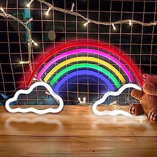 Regenbogen LED Leuchtreklamen, trounistro Bunte Neonlampe Nachtlichter, USB-betriebene Leuchtschilder für Weihnachten Gebu...