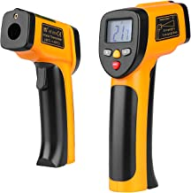 Flexzion Temperature Gun Non-Contact IR Infrared Digital Thermometer w/Laser Sight Handheld Accurate LCD Display, Instant Read -58~ -1202F Range with 9v Battery, Black Yellow