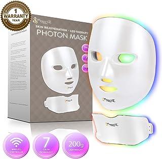 Project E Beauty Wireless 7 Color LED Mask Neck Photon Light Skin Rejuvenation Therapy Facial Skin Care Mask
