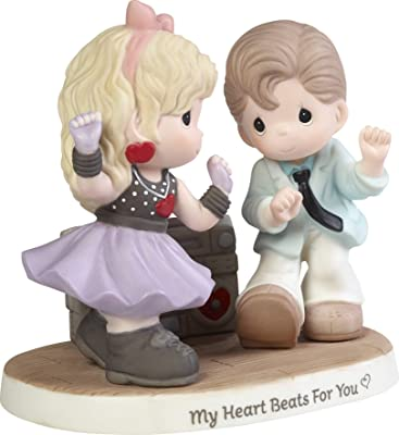 Precious Moments Couple Listening to Music 192011 My Heart Beats for You Bisque Porcelain Figurine, Multi