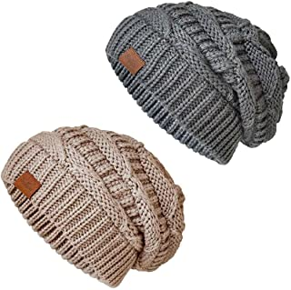 SOMALER Knit Beanie Hat for Women Oversize Chunky Winter Slouchy Beanie Hats Ski Cap