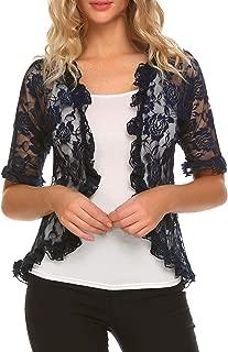 ELESOL Womens Lace Shrug Bolero Half Sleeve Elegant Ruffle Open Front Cardigan for Evening Dresses