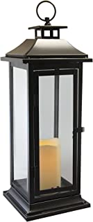 Lumabase 90401 Traditional Metal Lantern with LED Candle, Warm Black