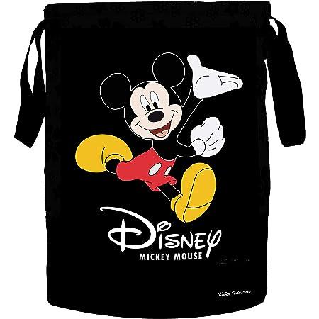Kuber Industries Disney Print Waterproof Canvas Laundry Bag, Toy Storage, Laundry Basket Organizer 45 L (Black)